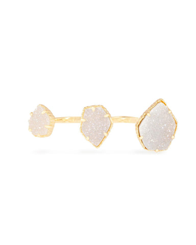 Gold Plated with White Druzy Stone Knuckle Ring