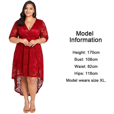 CLASSY RED HIGH-LOW HEM PLUS SIZE DRESS - tavoosfashion