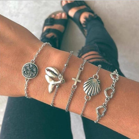 FIVE MULTI SILVER CHARM BRACELET - tavoosfashion