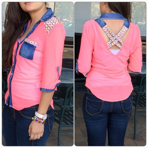 PINK BLUE CROSS BACK TOP - tavoosfashion