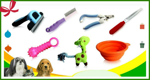 Dog Grooming Tools-Medium-Pets Up to 30 Lbs-Deshedding,nail clipper,rasp,flea comb, teeth massager, folding bowl,giraffe toy,