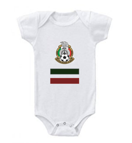 White Mexico baby short sleeve Rabbit bodysuits-futbol-t shirt-soccer jersey