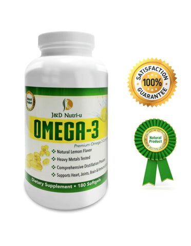 Omega 3 -180 softgels-1500 mg- Highly Refined-Fish Oil- Dietary Nutritional-Supplement