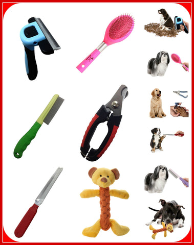 Dog Grooming Tools-Large-Dogs from 30 Lbs and UP-deshedding, brush, nail clipper, rasp, comb, bear toy