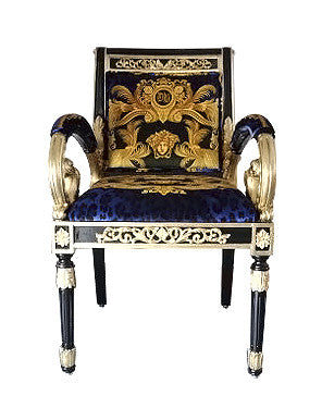 Pair Luxury Custom Armchair Covered in Versace DV Blue Animal Print Velvet  Fabric With Same Pattern ...