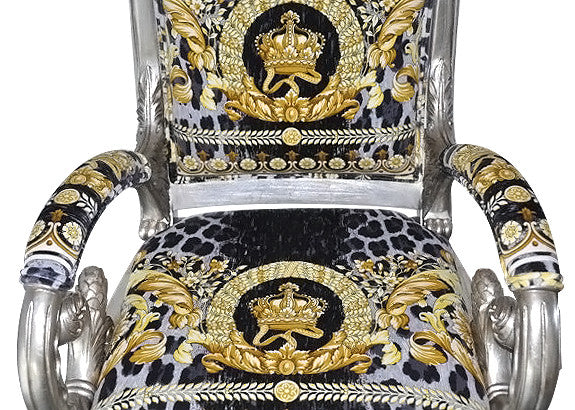 ... PAIR Luxury Custom Luxury Armchair Covered In Versace Vanity Wild Crown  Velvet Fabric Same Pattern ...
