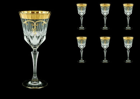 Crystal Wine Glasses In Antique Golden Classic Greek Key