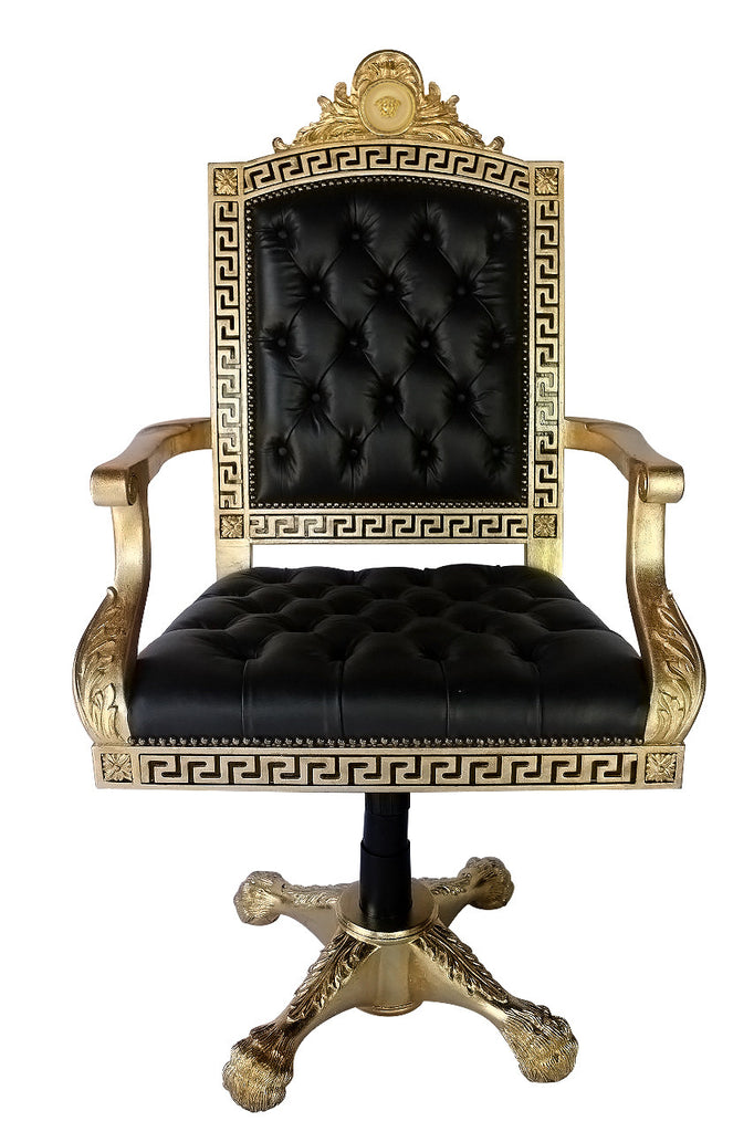 Executive Greek Key Medusa Swivel Armchair In Genuine Black Leather Tufted  Seat And Back ...