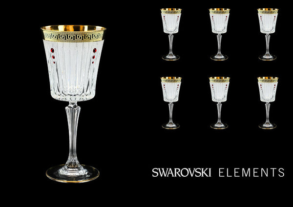 Crystal Swarovski Red Antique Golden Black Greek Key Wine