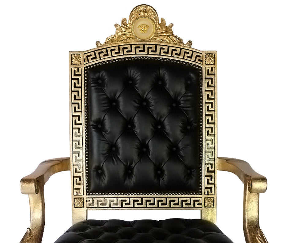 Ordinaire ... Executive Greek Key Medusa Swivel Armchair In Genuine Black Leather  Tufted Seat And Back ...