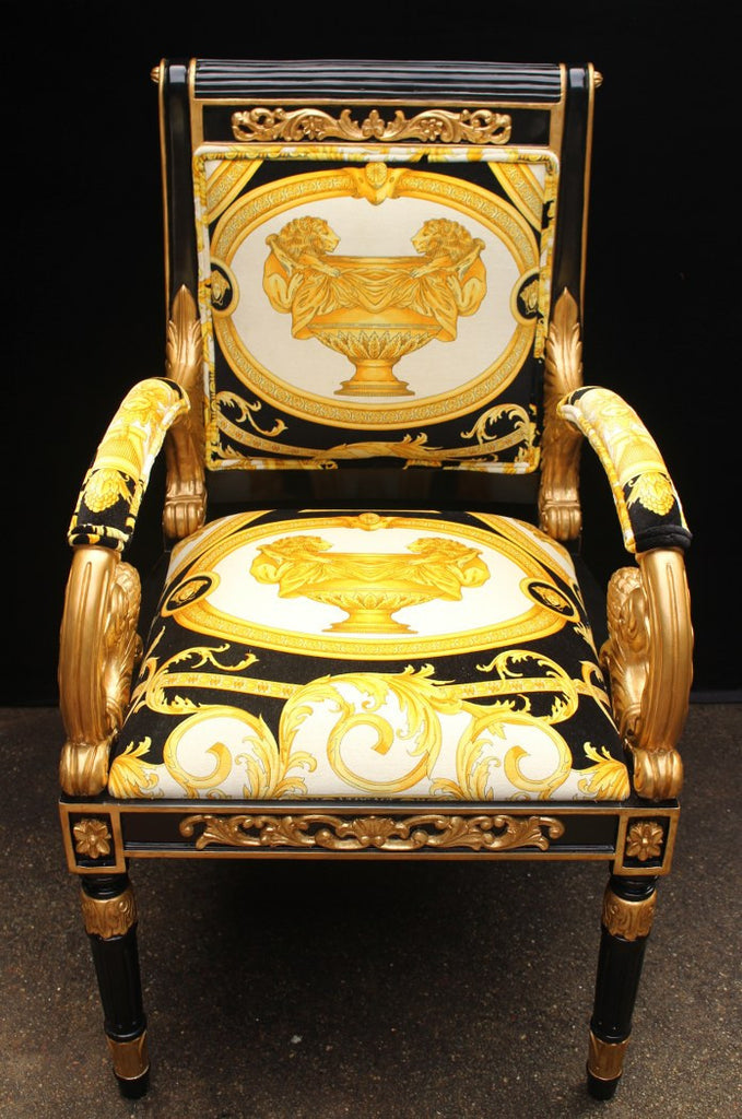 Good Luxury Custom Armchair Covered In Versace Gold Double Lion Petit Petitot  Fabric ...