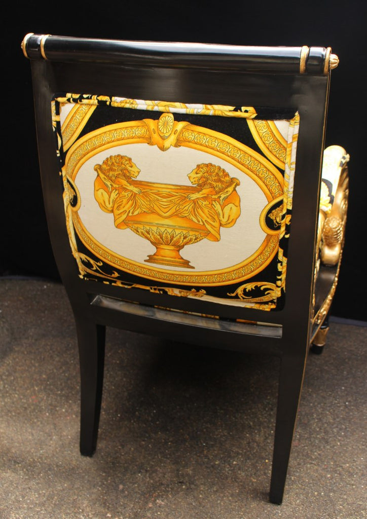 ... Luxury Custom Armchair Covered In Versace Gold Double Lion  Petit Petitot Fabric