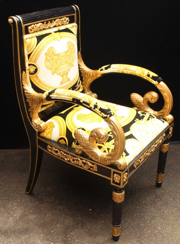 ... Luxury Custom Armchair Covered In Versace Gold Double Lion  Petit Petitot Fabric ...