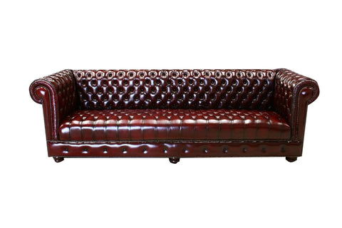 LUXURY CHESTERFIELD 3 SEATER SOFA DIAMOND BUTTONED SEAT IN GENUINE LEATHER  + MATCHING FREE VERSACE