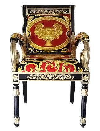 PAIR Luxury Custom Armchair + Ottoman Covered In Versace Red Double Lion  Petit Petitot Velvet Fabric
