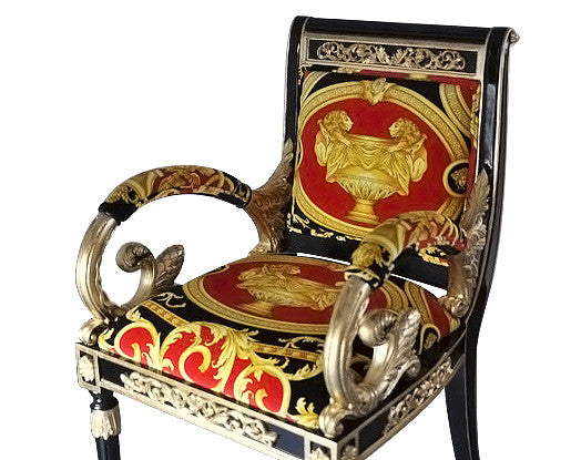 Luxury Custom Arm Chair in Versace Red Double Lion Velvet