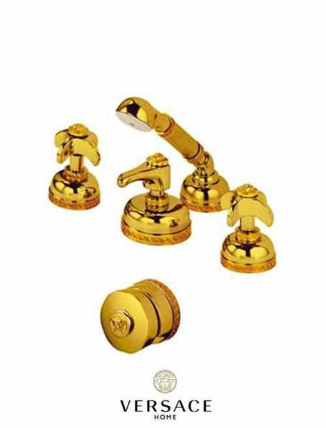 Versace gold 4 hole bathtub side set with pull out shower for Versace bathroom accessories