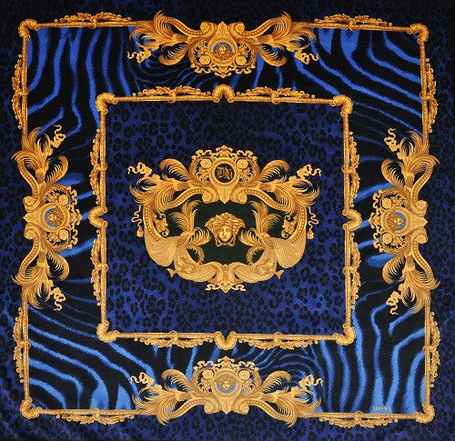 Versace Wild Dv Blue Animal Print Velvet Fabric 140cm X