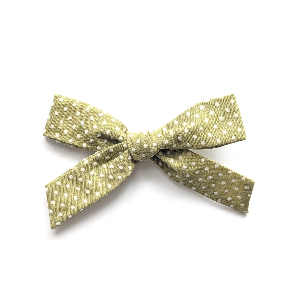 Avocado Swiss Dot :: Explorer Bow