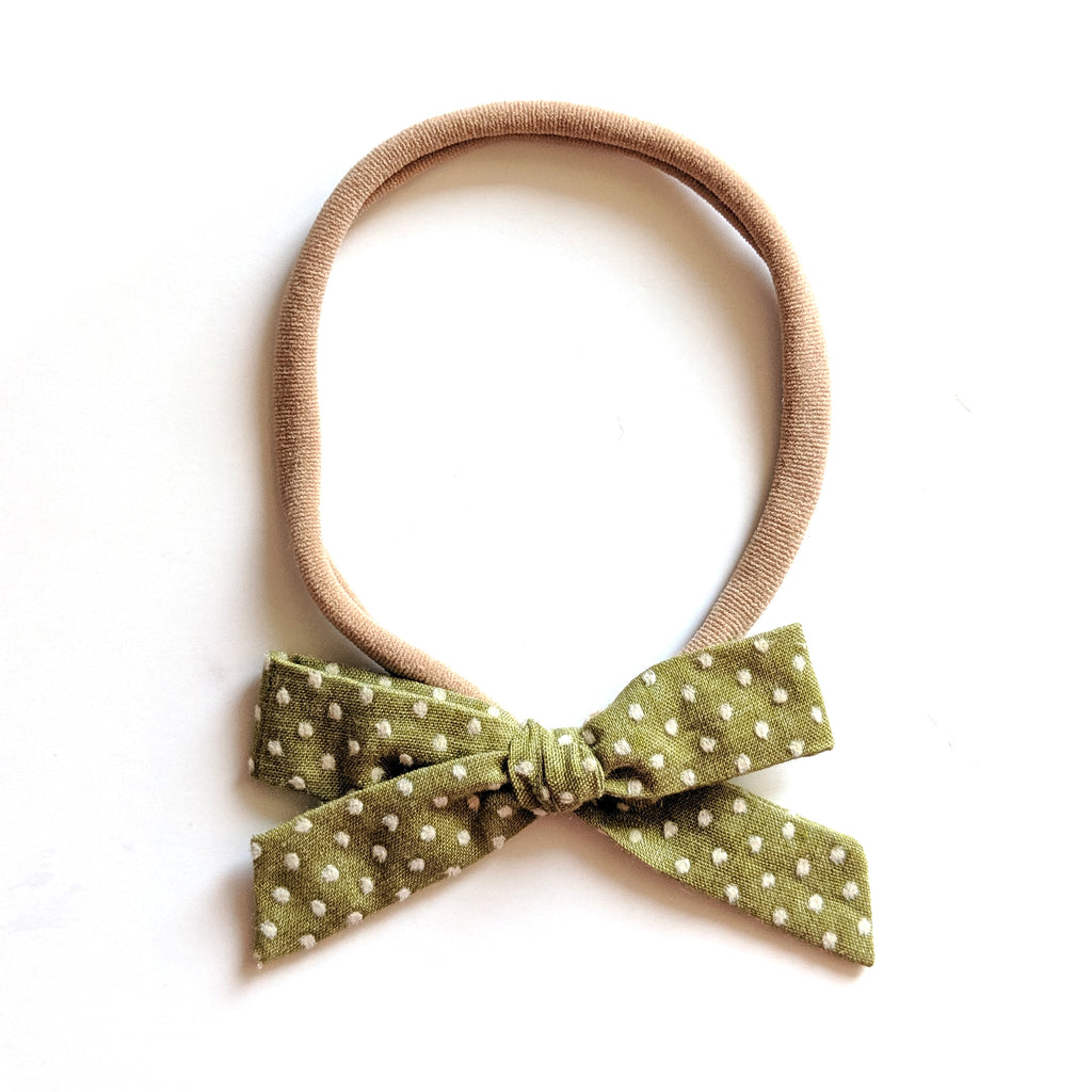 Avocado Swiss Dot :: Mini Explorer Bow