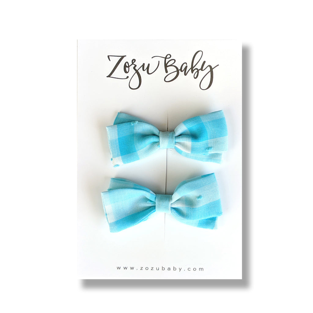 Light Blue Gingham Swiss Dot :: Petite Zoey Pigtail Set