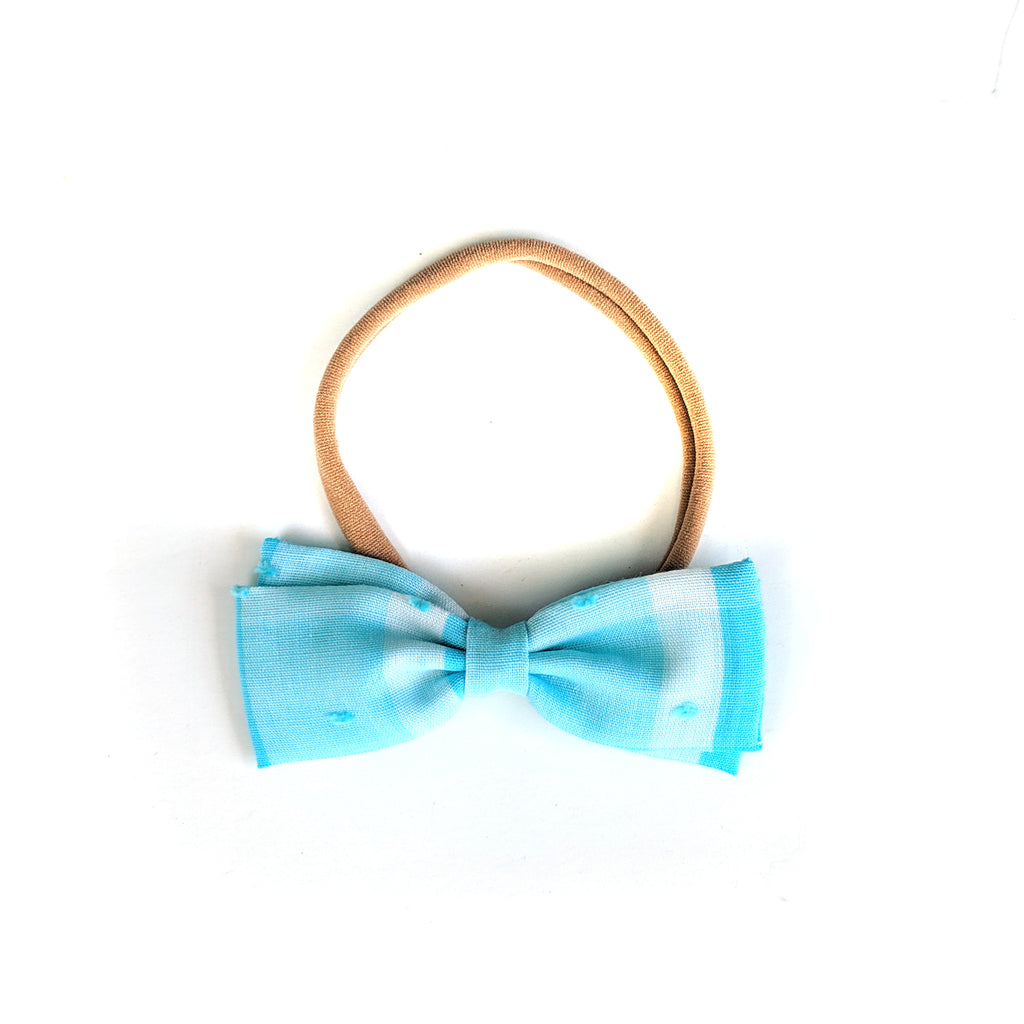 Light Blue Gingham Swiss Dot :: Mini Zoey Bow