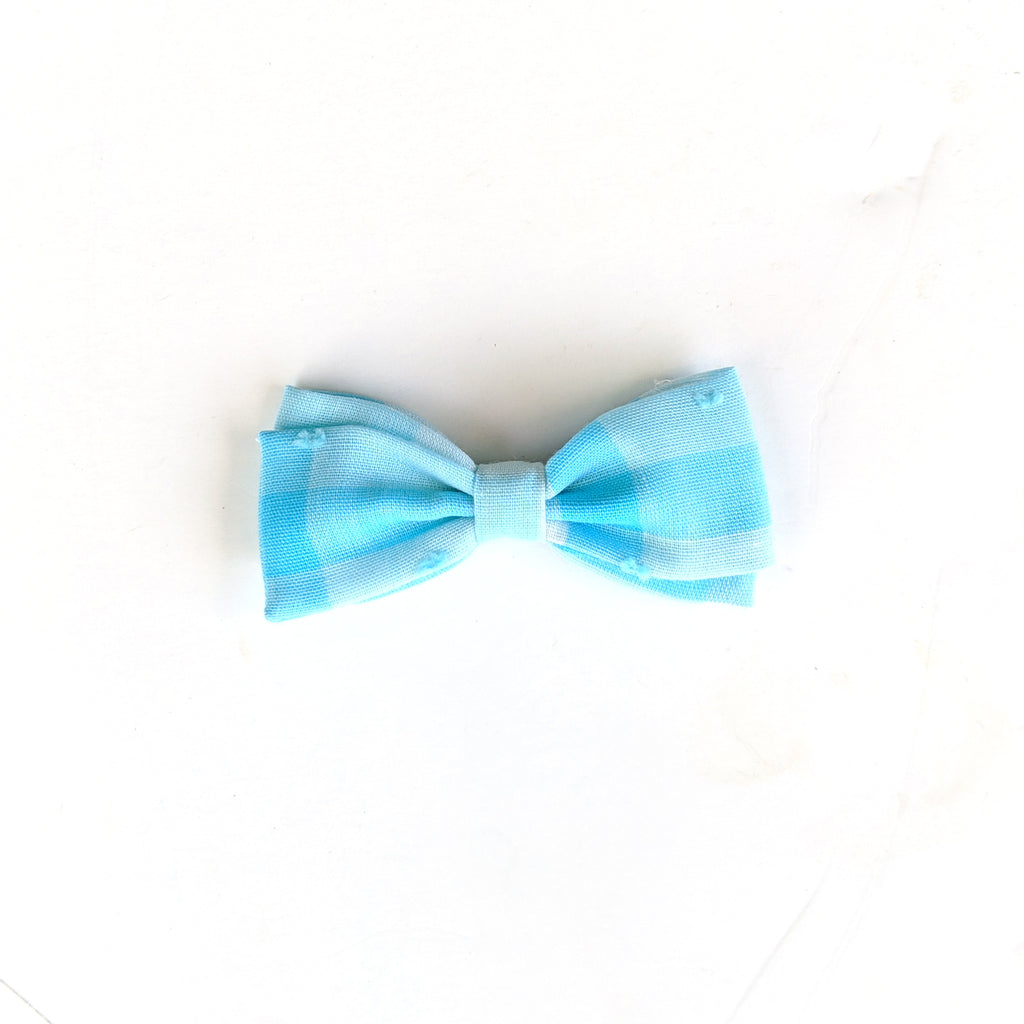 Light Blue Gingham Swiss Dot :: Petite Zoey Bow