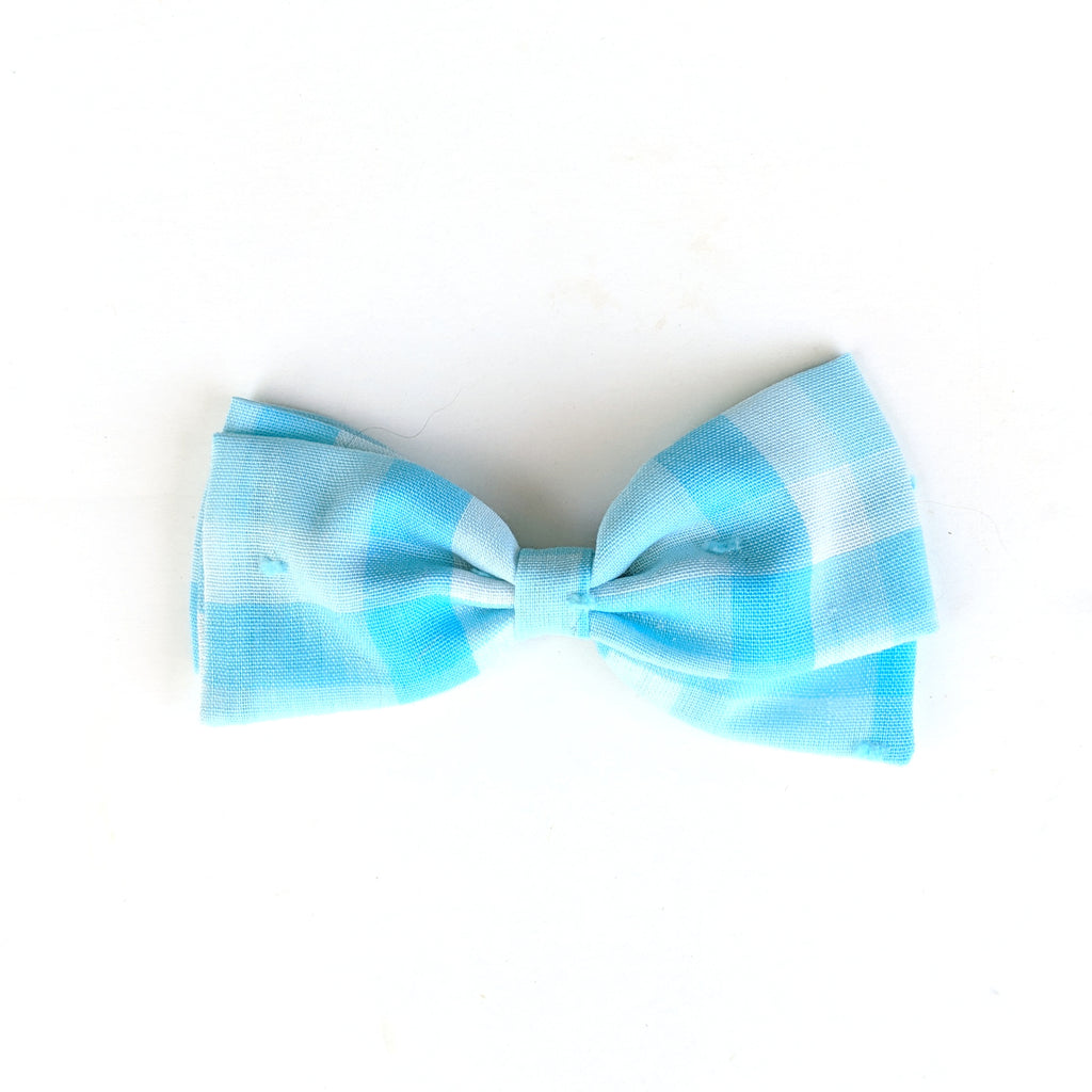 Light Blue Gingham Swiss Dot :: Zoey Bow