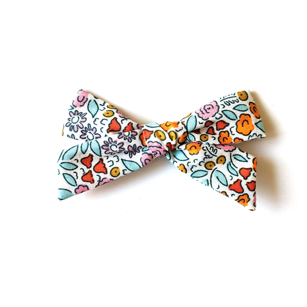Blue and Orange Floral :: Explorer Bow