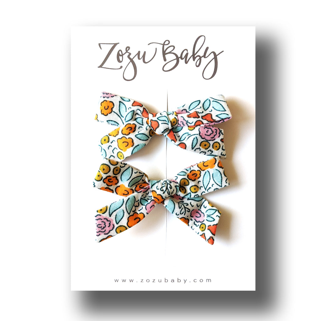 Blue and Orange Floral :: Mini Explorer Pigtail Set