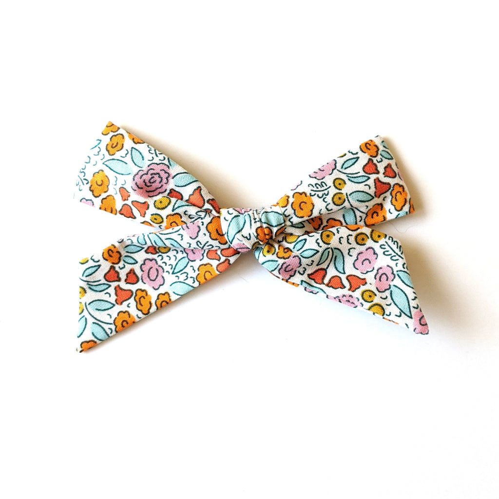 Blue and Orange Floral :: Oversized Explorer Bow