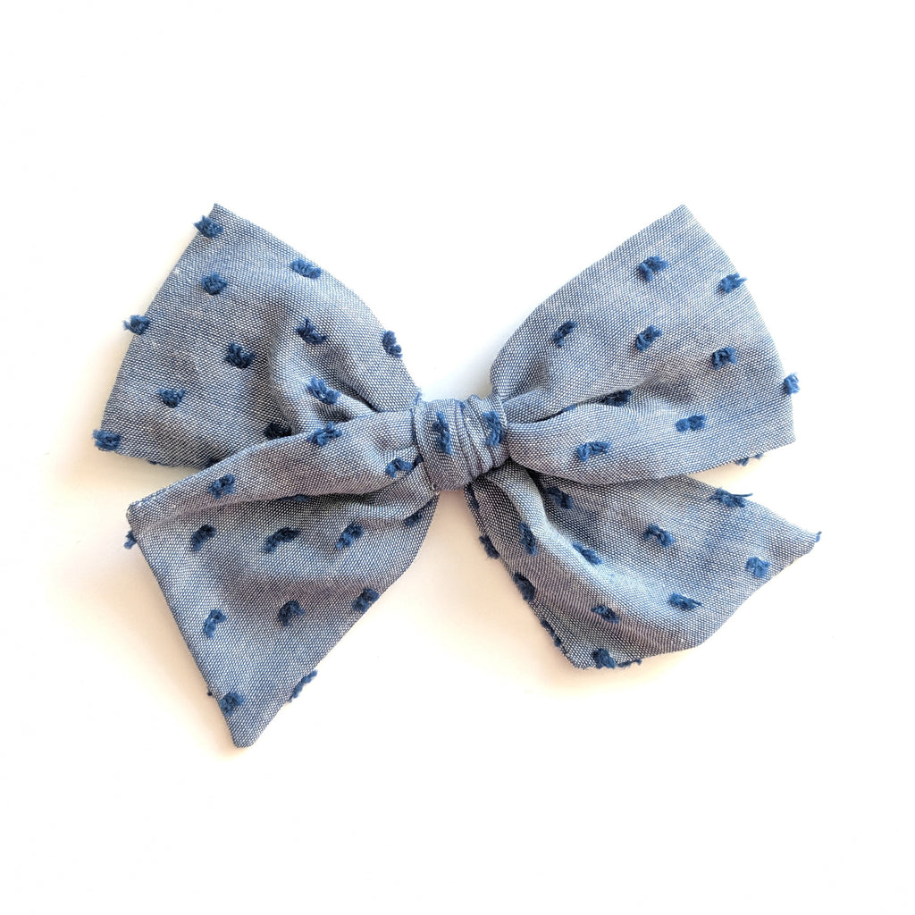 Chambray Swiss Dot :: Voyager Bow