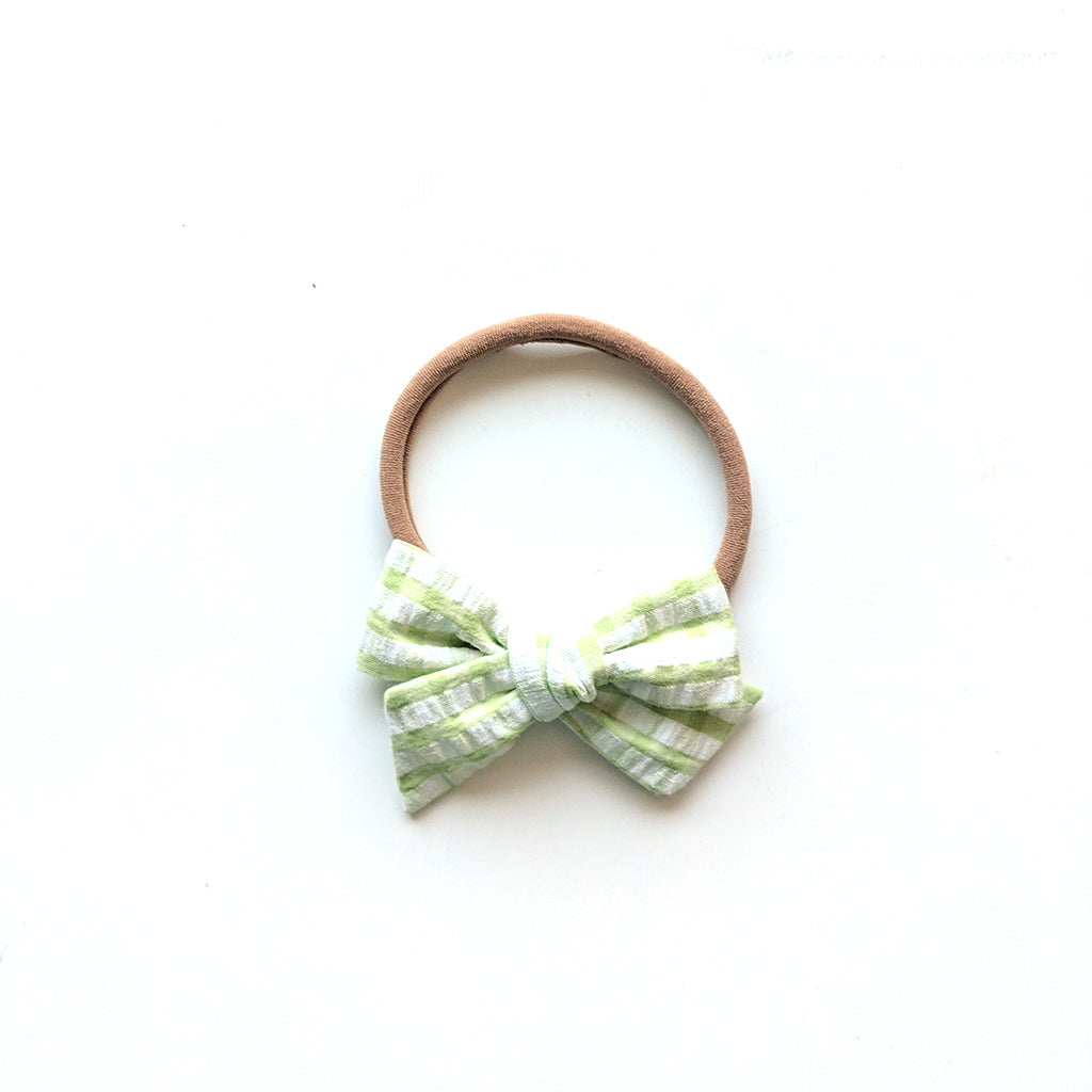 Gingham in Springtime Green :: Mini Voyager Bow