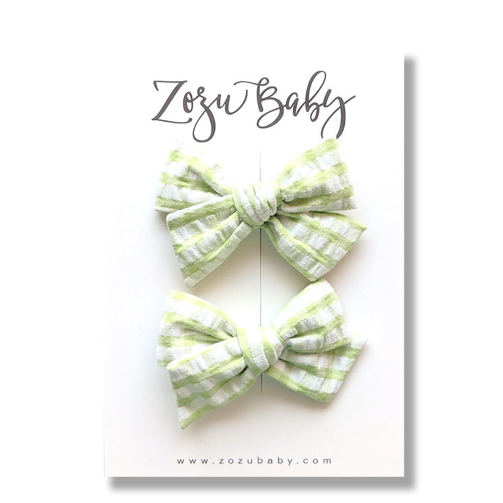 Gingham in Springtime Green :: Mini Voyager Pigtail Set