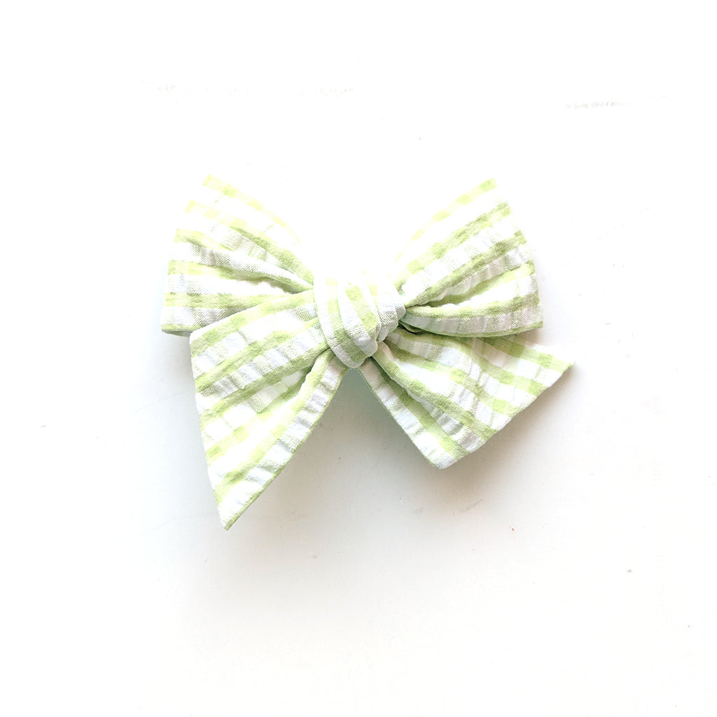 Gingham in Springtime Green :: Voyager Bow