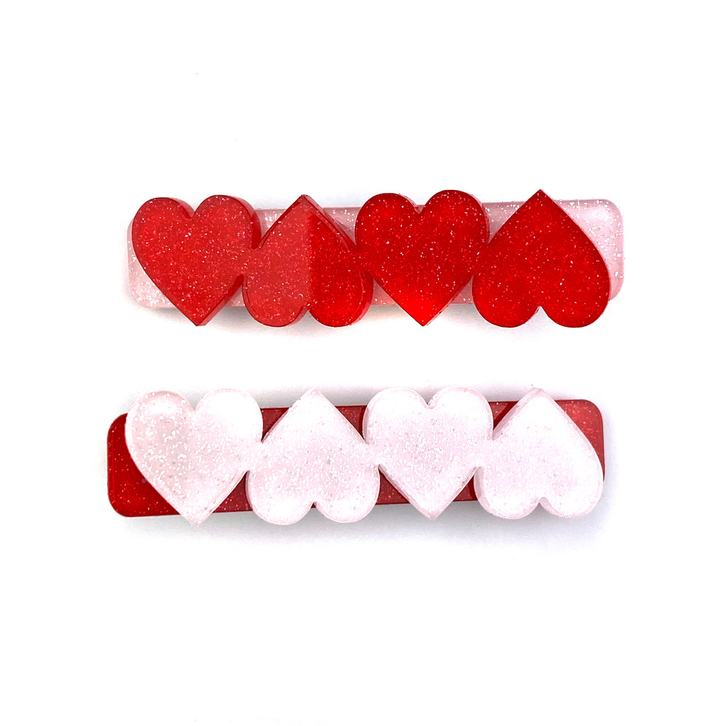 Mismatch Red Heart Set :: Acrylic Clip Set