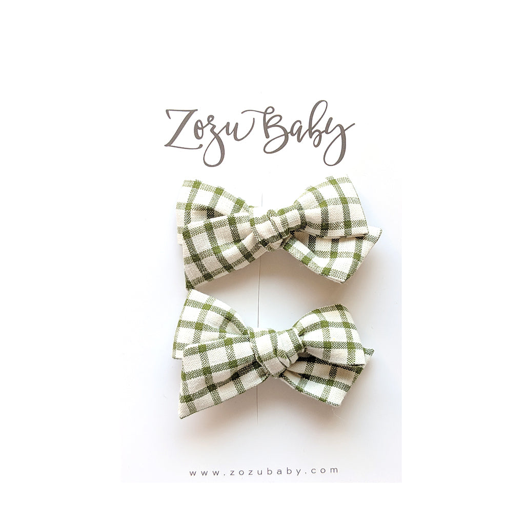 Green Plaid :: Mini Voyager Pigtail Set