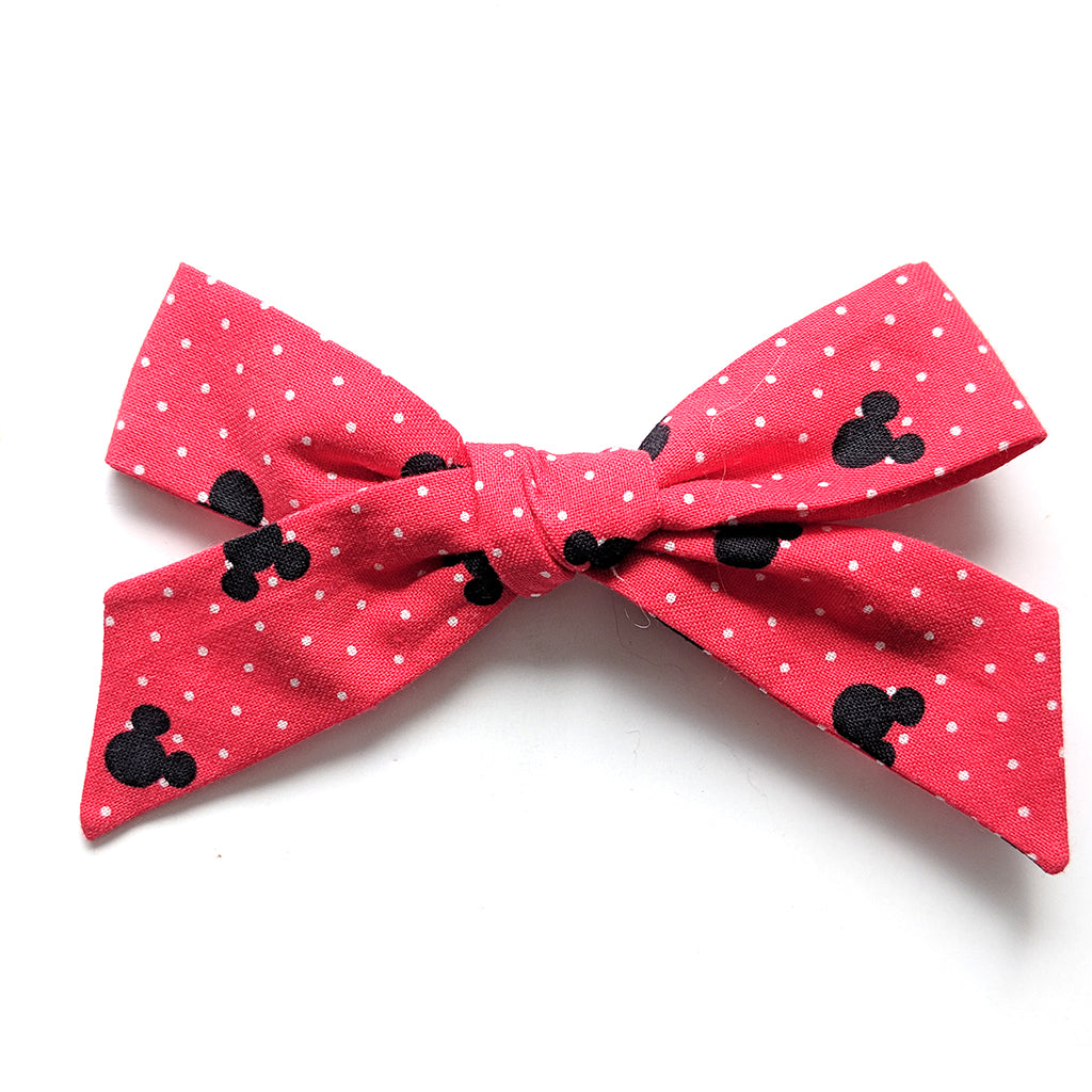 Hidden Mickey in Red :: Oversized Explorer Bow