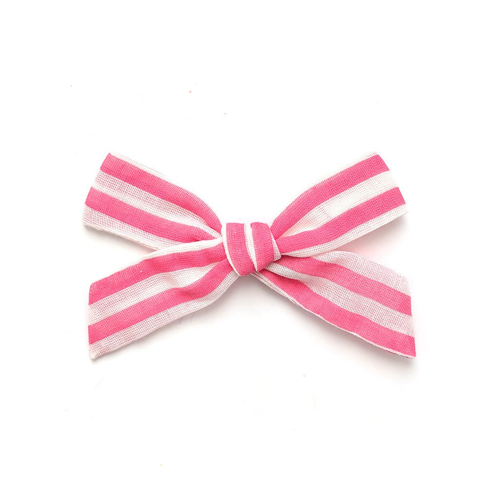 Hot Pink and White Stripe :: Oversized Explorer Bow