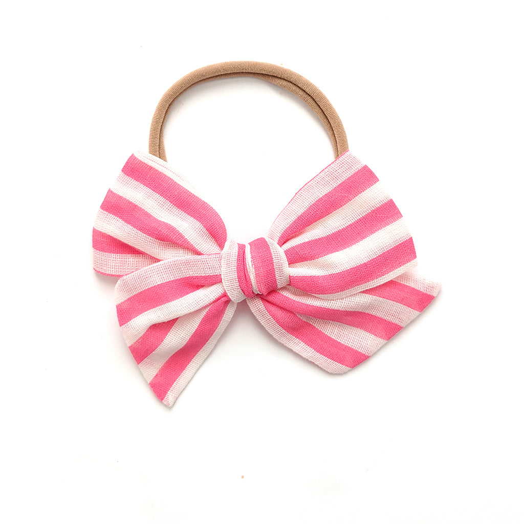 Hot Pink and White Stripe :: Voyager Bow