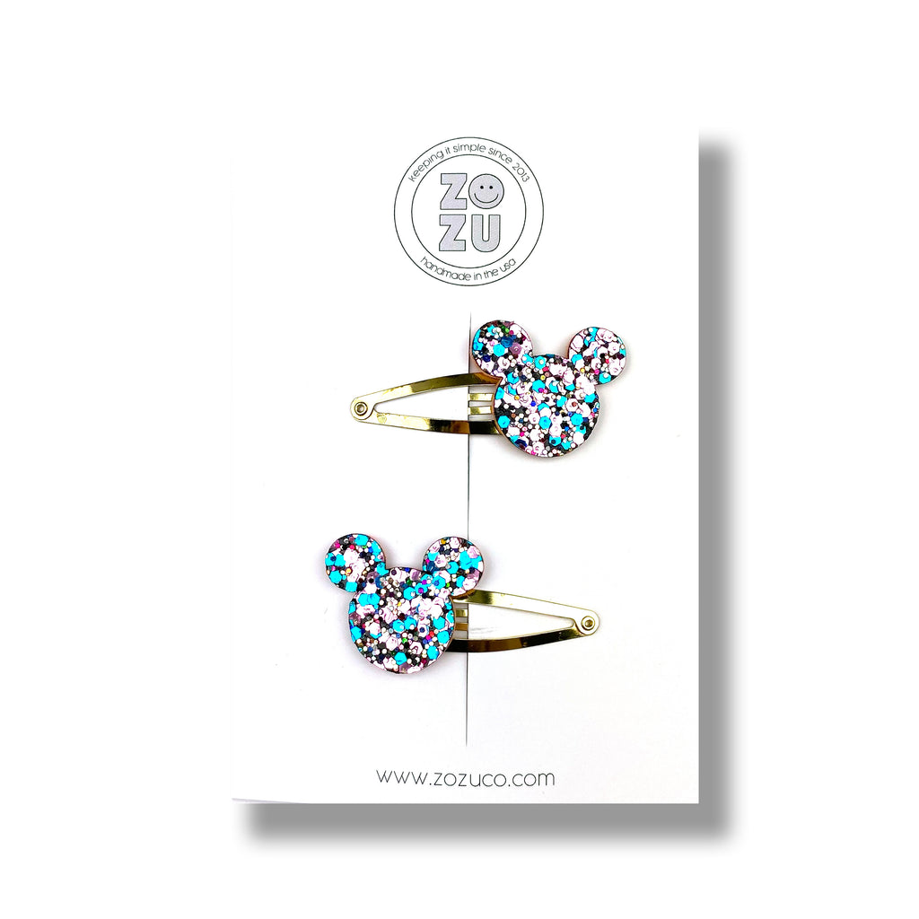 Mouse Glitter :: Snap Clip Pigtail Set
