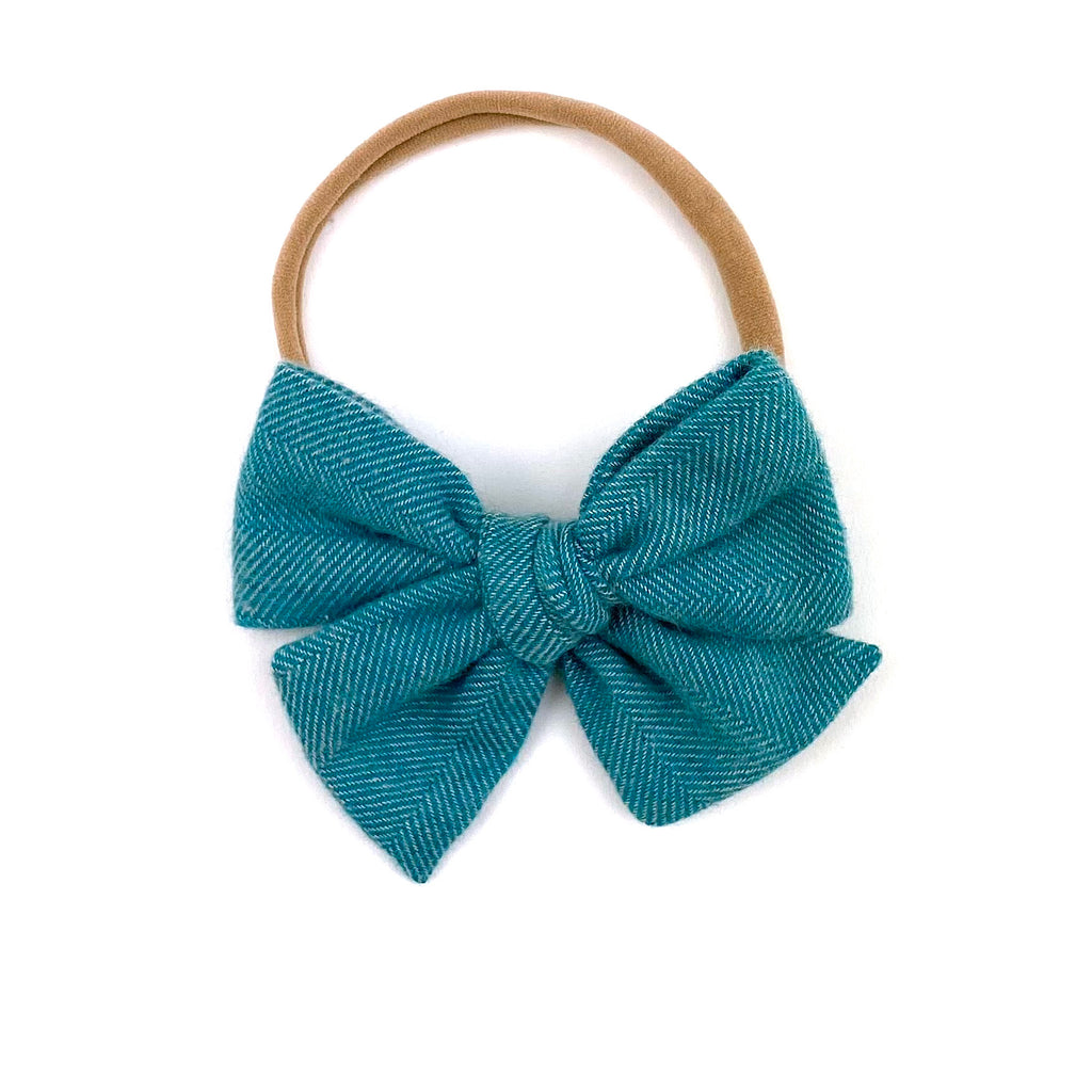 Teal Herringbone :: Mini Voyager Bow