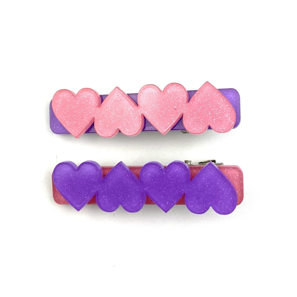 Mismatch Purple Glitter Heart Set :: Acrylic Clip Set