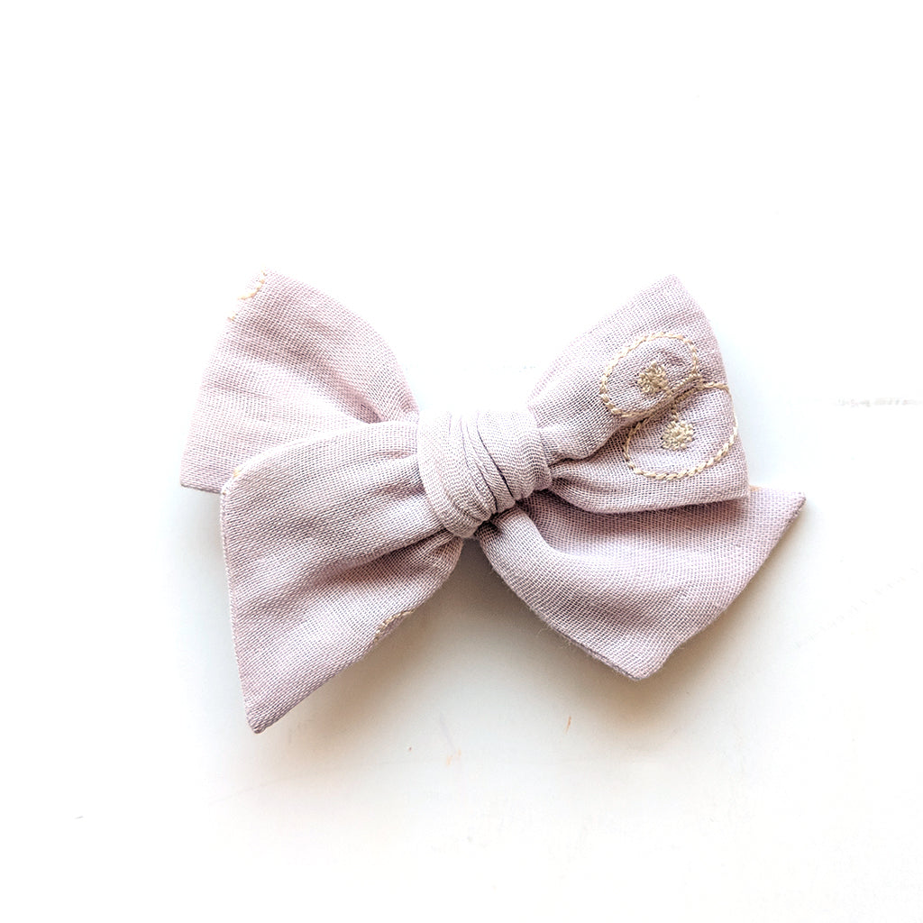 Embroidered Lavender Double Gauze :: Voyager Bow