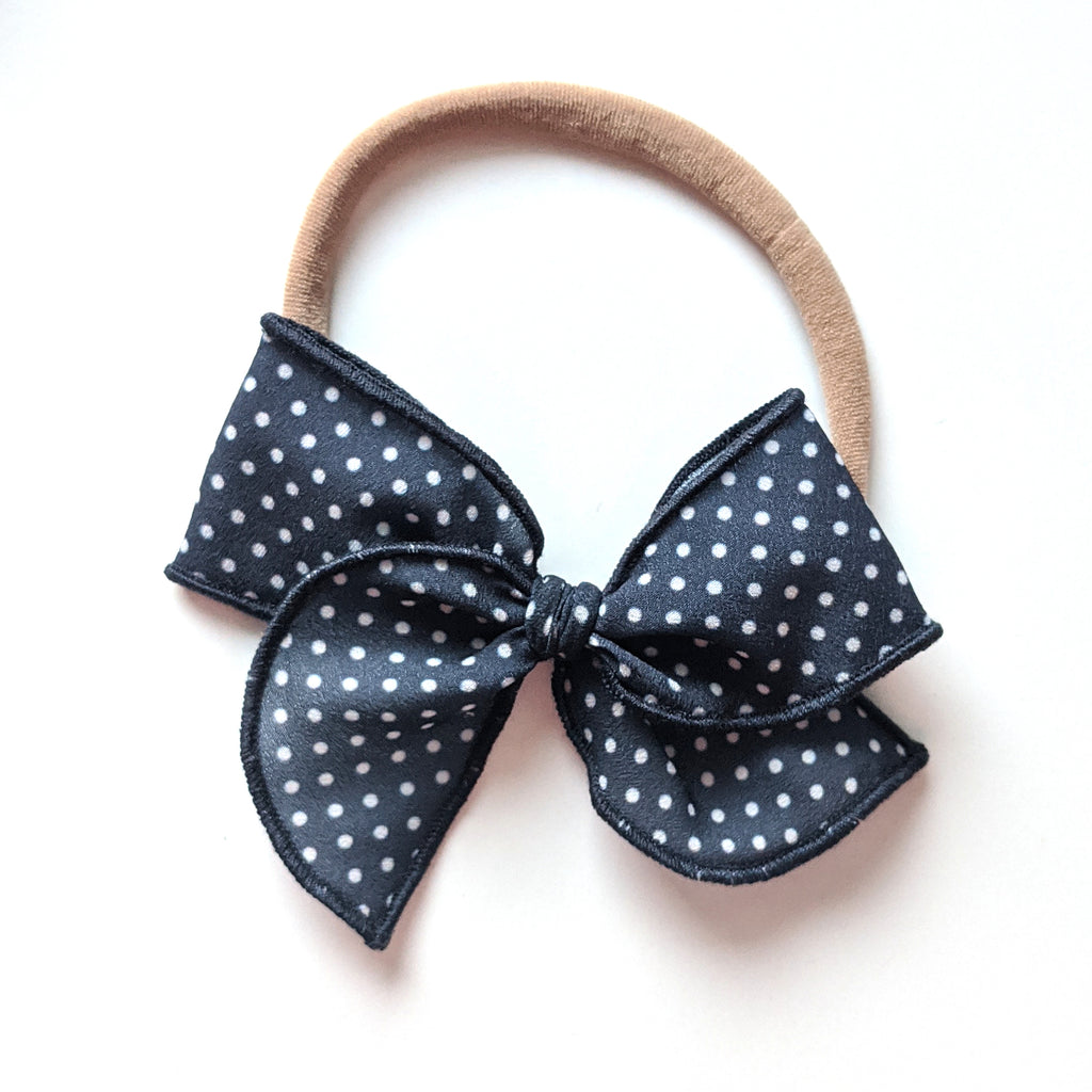 Navy Dot :: Mini Wayfarer Bow