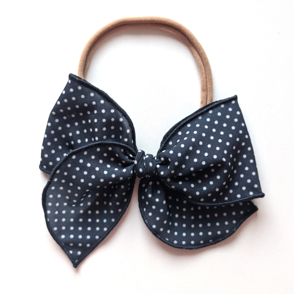 Navy Dot :: Wayfarer Bow