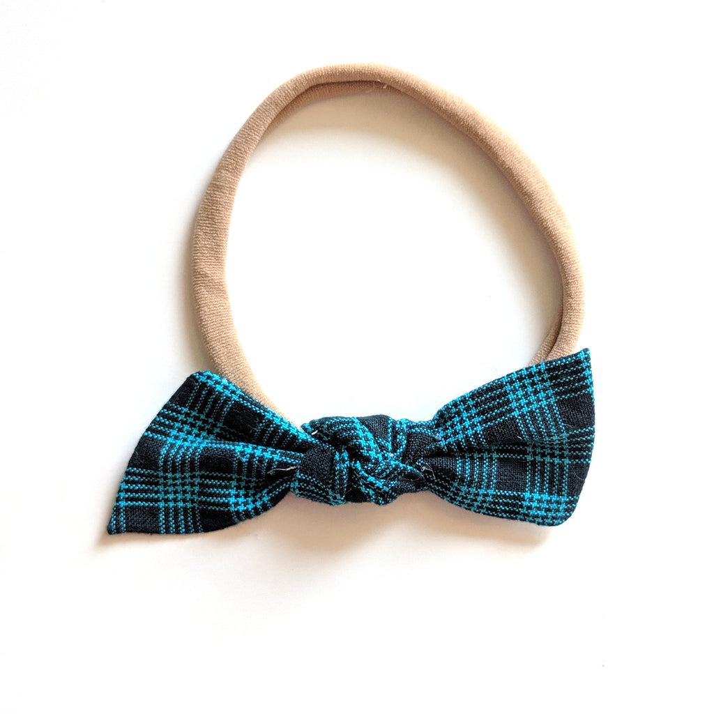 Navy Plaid :: Knot Bow