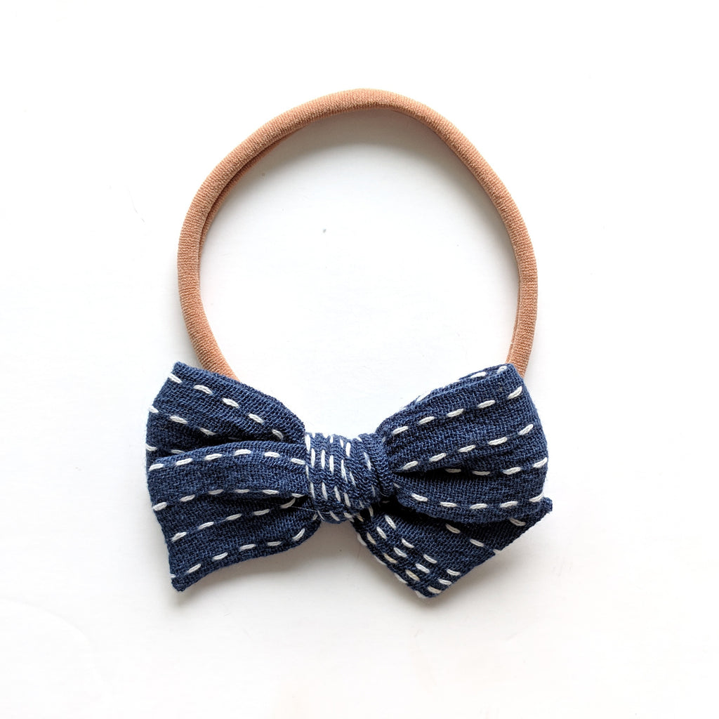 Navy Swiss Dot :: Mini Voyager Bow
