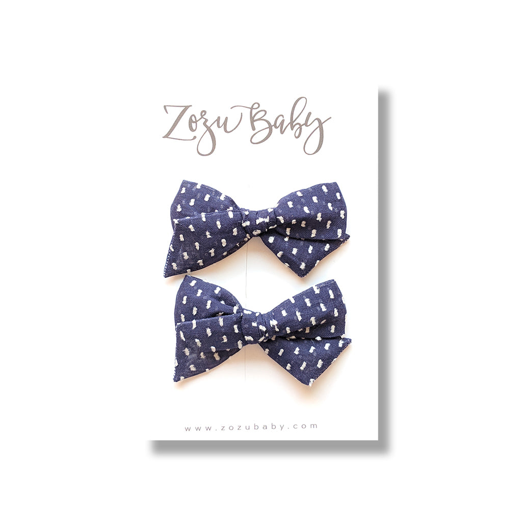 Navy Swiss Dot :: Mini Voyager Pigtail Set