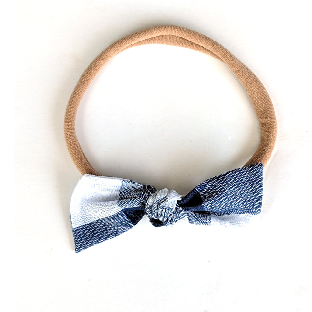 Navy Check :: Knot Bow